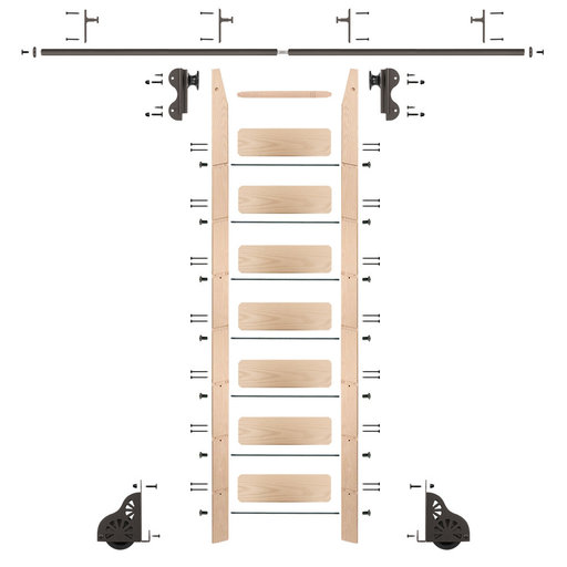 View a Larger Image of Rolling Hook 8-Foot Maple Ladder Kit with 8-Foot Rail and Vertical Brackets, Bronze