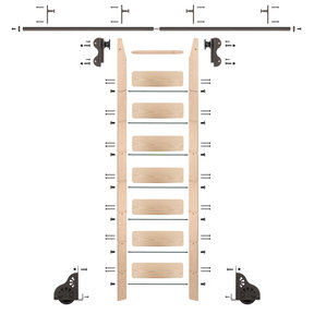 Rolling Hook 8-Foot Maple Ladder Kit with 8-Foot Rail and Vertical Brackets, Bronze