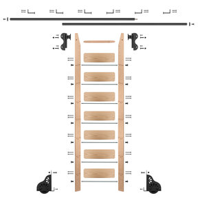 Rolling Hook 8-Foot Red Oak Ladder Kit with 12-Foot Rail and Horizontal Brackets, Black