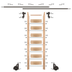 Rolling Hook 8-Foot Red Oak Ladder Kit with 12-Foot Rail and Horizontal Brackets, Bronze