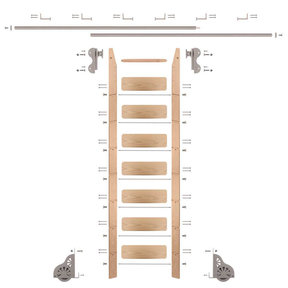 Rolling Hook 8-Foot Red Oak Ladder Kit with 12-Foot Rail and Horizontal Brackets, Satin Nickel