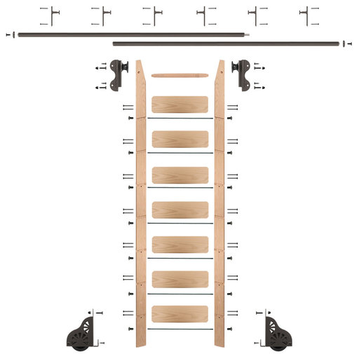 View a Larger Image of Rolling Hook 8-Foot Red Oak Ladder Kit with 12-Foot Rail and Vertical Brackets, Bronze
