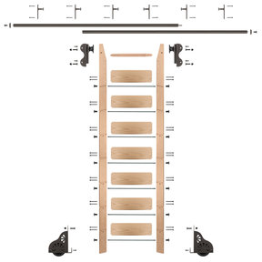 Rolling Hook 8-Foot Red Oak Ladder Kit with 12-Foot Rail and Vertical Brackets, Bronze