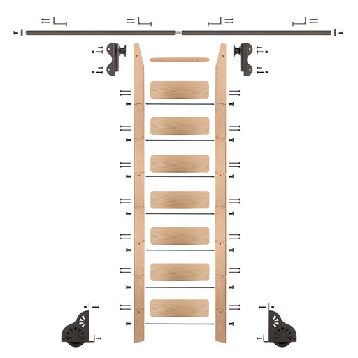 View a Larger Image of Rolling Hook 8-Foot Red Oak Ladder Kit with 8-Foot Rail and Horizontal Brackets, Bronze
