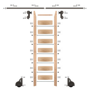 Rolling Hook 8-Foot Red Oak Ladder Kit with 8-Foot Rail and Horizontal Brackets, Bronze