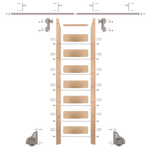 View a Larger Image of Rolling Hook 8-Foot Red Oak Ladder Kit with 8-Foot Rail and Vertical Brackets, Satin Nickel