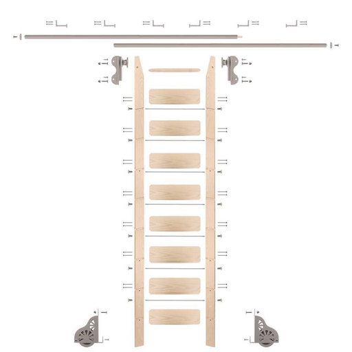 View a Larger Image of Rolling Hook 9-Foot Maple Ladder Kit with 12-Foot Rail and Horizontal Brackets, Satin Nickel