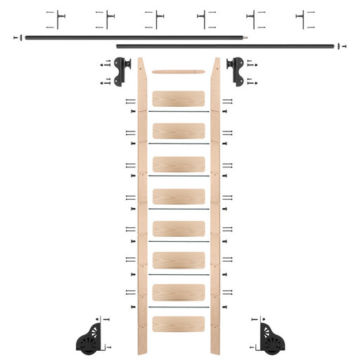 View a Larger Image of Rolling Hook 9-Foot Maple Ladder Kit with 12-Foot Rail and Vertical Brackets, Black