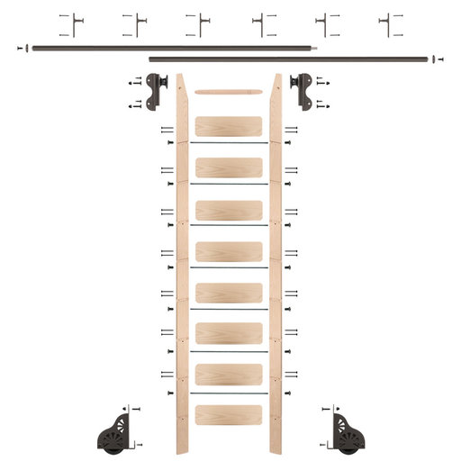 View a Larger Image of Rolling Hook 9-Foot Maple Ladder Kit with 12-Foot Rail and Vertical Brackets, Bronze