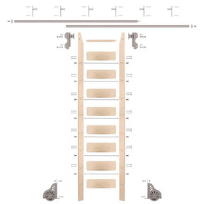 Rolling Hook 9-Foot Maple Ladder Kit with 12-Foot Rail and Vertical Brackets, Satin Nickel