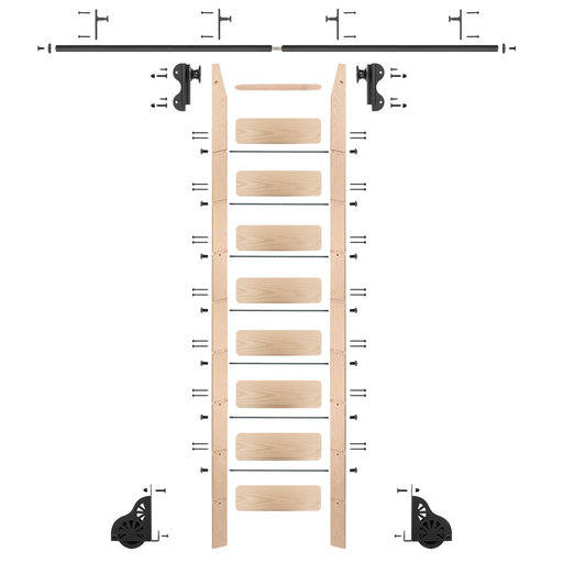 View a Larger Image of Rolling Hook 9-Foot Maple Ladder Kit with 8-Foot Rail and Vertical Brackets, Black