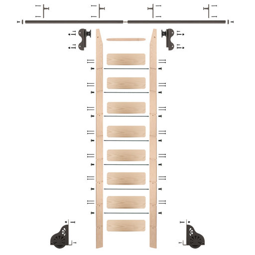 View a Larger Image of Rolling Hook 9-Foot Maple Ladder Kit with 8-Foot Rail and Vertical Brackets, Bronze