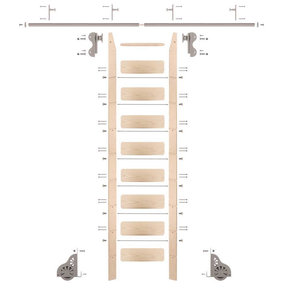 Rolling Hook 9-Foot Maple Ladder Kit with 8-Foot Rail and Vertical Brackets, Satin Nickel