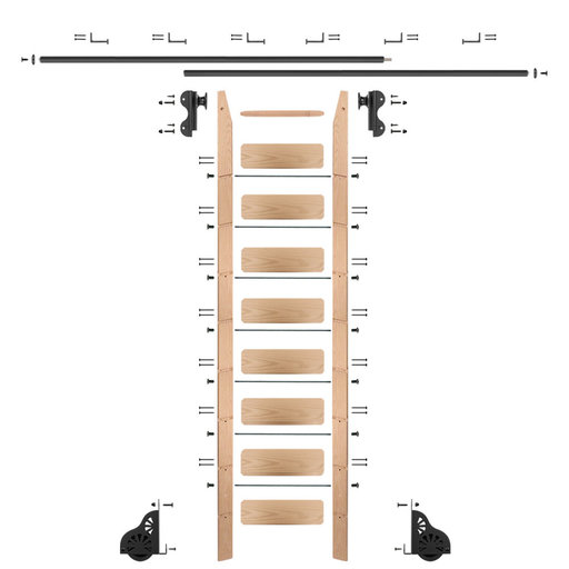 View a Larger Image of Rolling Hook 9-Foot Red Oak Ladder Kit with 12-Foot Rail and Horizontal Brackets, Black
