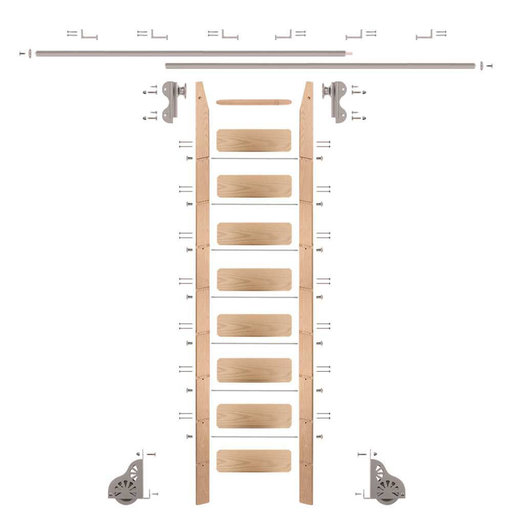View a Larger Image of Rolling Hook 9-Foot Red Oak Ladder Kit with 12-Foot Rail and Horizontal Brackets, Satin Nickel