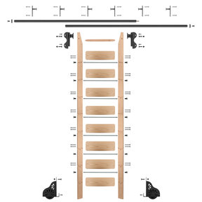 Rolling Hook 9-Foot Red Oak Ladder Kit with 12-Foot Rail and Vertical Brackets, Black