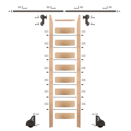 View a Larger Image of Rolling Hook 9-Foot Red Oak Ladder Kit with 8-Foot Rail and Horizontal Brackets, Bronze