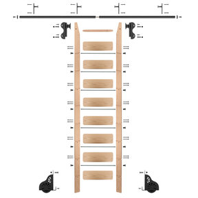 Rolling Hook 9-Foot Red Oak Ladder Kit with 8-Foot Rail and Vertical Brackets, Black