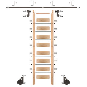 Rolling Hook 9-Foot Red Oak Ladder Kit with 8-Foot Rail and Vertical Brackets, Bronze