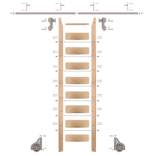 View a Larger Image of Rolling Hook 9-Foot Red Oak Ladder Kit with 8-Foot Rail and Vertical Brackets, Satin Nickel