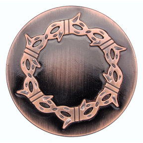 Round Knob with Barbed Wire, Satin Copper Oxide