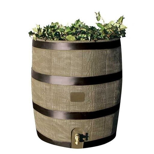 View a Larger Image of Round Rain Barrel with Planter, 35 gallon, Deco