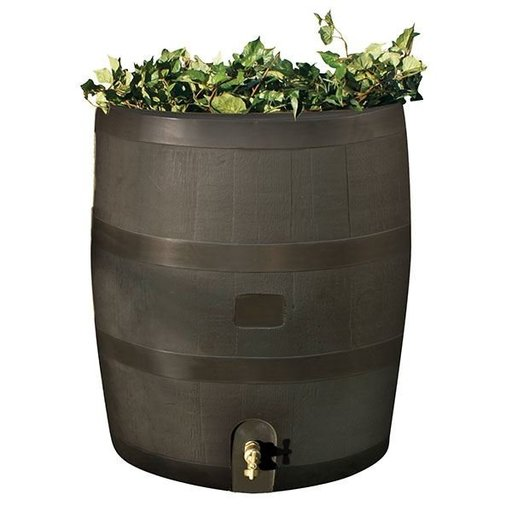 View a Larger Image of Round Rain Barrel with Planter, 35 gallon, Mud