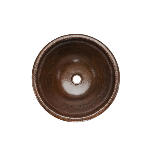 View a Larger Image of Round Self Rimming Hammered Copper Sink