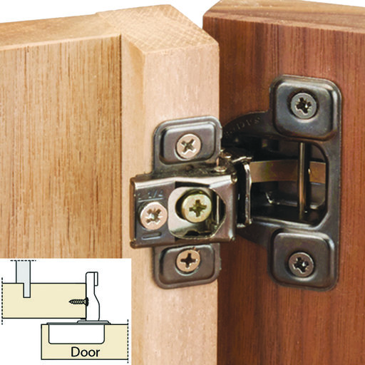 "View a Larger Image of 106 Degree Excen-Three Self Close 1-1/4"" Overlay Face Frame Hinge, Nickel Finish pair"