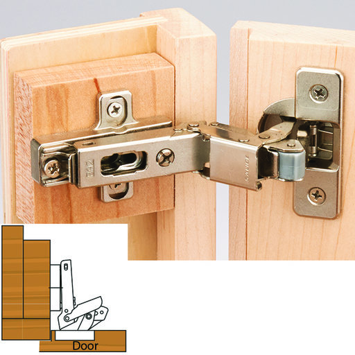 "View a Larger Image of 110 Degree Self Close 3/8"" Lipped Face Frame Hinge, Nickel Finish pair"