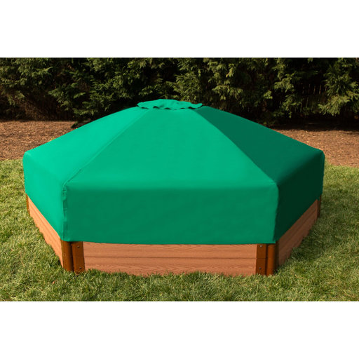 "View a Larger Image of 7' x 8' x 13.5"" Hexagonal Collapsible Sandbox Cover"