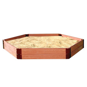"Classic Sienna 7' x 8' x 11"" Composite Hexagon Sandbox Kit - 1"" profile"
