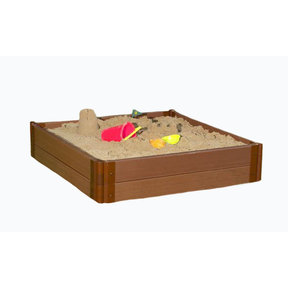 "Classic Sienna 4' x 4' x 11"" Composite Square Sandbox Kit - 1"" profile"