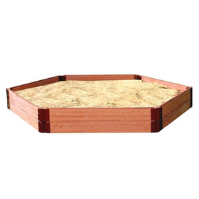 "Classic Sienna 7' x  8' x 11"" Composite Hexagon Sandbox Kit with Collapsible Cover - 1"" profile"