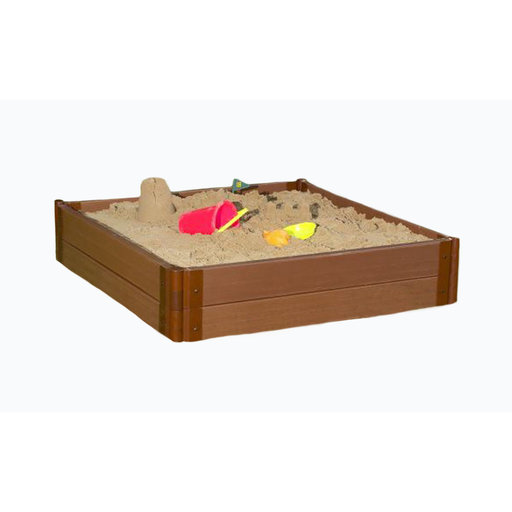 "View a Larger Image of Classic Sienna 4' x 4' x 11"" Composite Square Sandbox Kit with Collapsible over - 1"" profile"