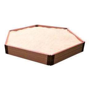 "Classic Sienna 7' x  8' x 11 "" Composite Hexagon Sandbox Kit with Collapsible Cover - 2"" profile"