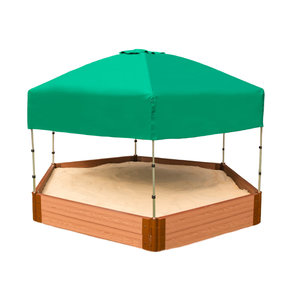 "Classic Sienna 7' x  8' x 11"" Composite Hexagon Sandbox Kit with Telescoping Canopy/Cover - 2"" profile"