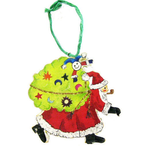 View a Larger Image of Santa with Sack Ornament  Woodworking Pattern and Picture