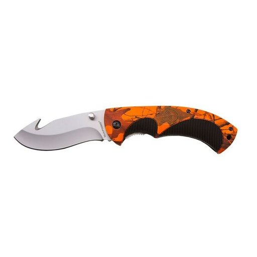 View a Larger Image of Hi-Visibility Camouflage Folding Gut Hook Knife, Model SK-909HV