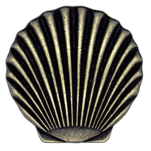View a Larger Image of Scallop Seashell Knob, Brass Oxide