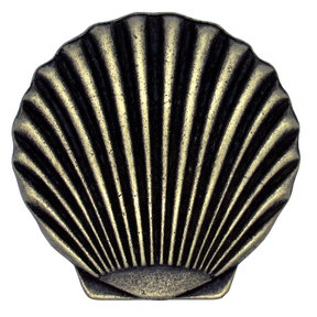 Scallop Seashell Knob, Brass Oxide