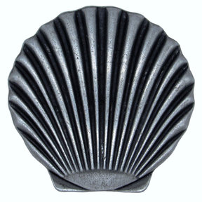 Scallop Seashell Knob, Pewter Oxide