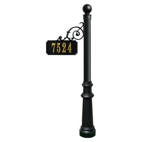 Scroll Mount Address Post with decorative Fluted base and Ba