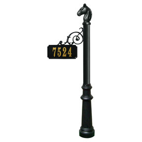 Scroll Mount Address Post with decorative Fluted base and Ho