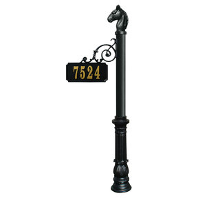 Scroll Mount Address Post with decorative Ornate base and Ho