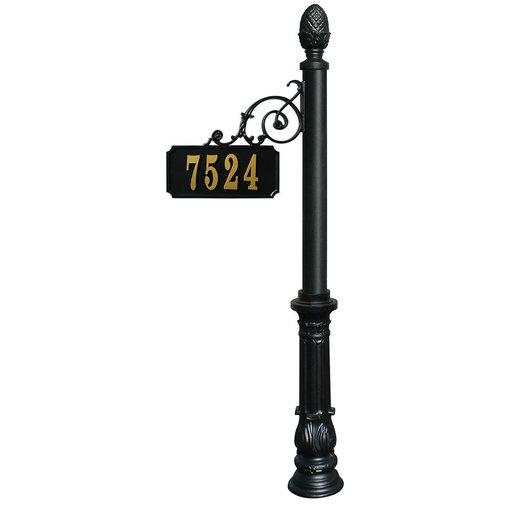 View a Larger Image of Scroll Mount Address Post with decorative Ornate base and Pi