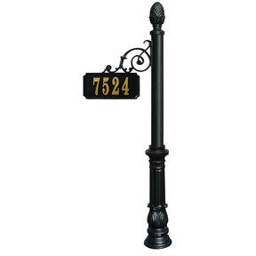 Scroll Mount Address Post with decorative Ornate base and Pi