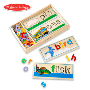 See & Spell Learning Toy, Developmental Toys, Wooden Case, Develops Vocabulary and Spelling Skills, 50+ Wooden Pieces