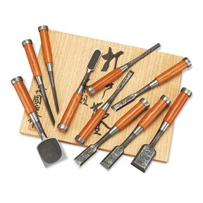 Set of 10 Hand Hammered Japanese (Uchi Dashi) Chisels - Kunikei