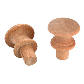 "Shaker Knob, Maple 1-1/4"" Dia., 1/2"" Tenon  2-piece"